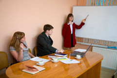 Young woman to speak at a meeting Stock Photo
