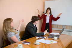 Young woman to speak at a meeting Stock Images