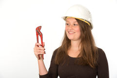 Young woman with tool Stock Image