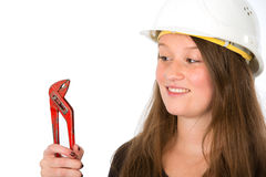 Young woman with tool Royalty Free Stock Photos
