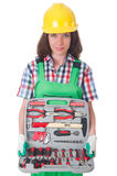 Young woman with toolkit Stock Photo