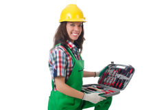 Young woman with toolkit. On white Royalty Free Stock Photos