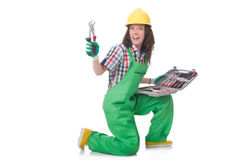Young woman with toolkit Royalty Free Stock Images