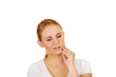 Young woman with tooth ache.  Royalty Free Stock Photos