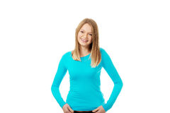 Young woman with toothy smile. Happy teen woman with toothy smile Royalty Free Stock Photo