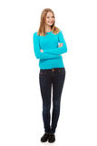 Young woman with toothy smile. Happy teen woman with folded arms Stock Photos