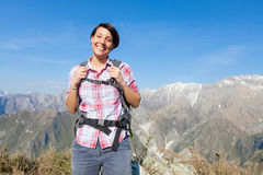 Young Woman at Top of Mountain Royalty Free Stock Images