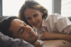 Young woman totally in love with her husband royalty free stock photos