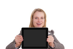 Young woman with touch screen Royalty Free Stock Photo