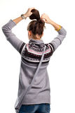 Young woman touches hair. Stock Photos