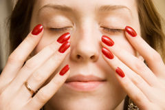 Free Young Woman Touching Her Face Royalty Free Stock Image - 3525046