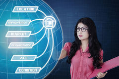 Young woman touching property value button. Property value concept. Young Asian businesswoman holding a document and touching property value button on the Royalty Free Stock Images