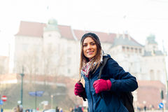 Young woman tourist in the city of Kracow Royalty Free Stock Photography