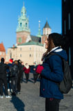 Young woman tourist in the city of Kracow Stock Photos