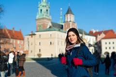 Young woman tourist in the city of Kracow Stock Photo