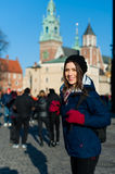 Young woman tourist in the city of Kracow Stock Images