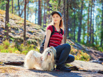Young woman tourist with dog Royalty Free Stock Photo
