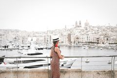 Cityscape at the old town in Valletta city, Malta royalty free stock photography
