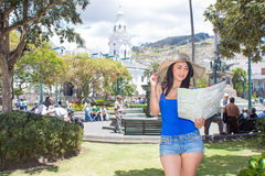 Young woman tourist in historic old town Quito Royalty Free Stock Photos