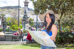 Young woman tourist in historic old town Quito Stock Image