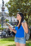 Young woman tourist in historic old town Quito Stock Images