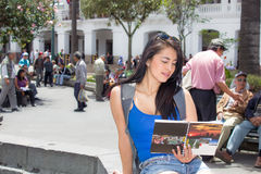 Young woman tourist in historic old town Quito Royalty Free Stock Photography