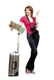 Young woman tourist holding map and phone. This image has attached release stock images