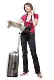 Young woman tourist looking at map Royalty Free Stock Photos