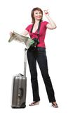 Young woman tourist looking at map Royalty Free Stock Photo