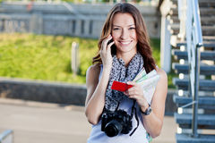Young woman tourist making phone call Stock Photos