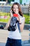 Young woman tourist making phone call Royalty Free Stock Photography