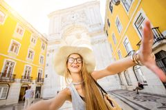 Woman traveling in Lisbon, Portugal royalty free stock images
