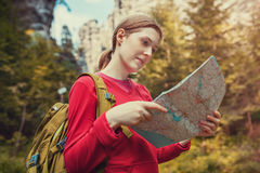 Young woman tourist Stock Images