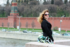 Young Woman tourist in Moscow Stock Photography