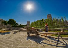 Young woman tourist near wooden cart in Rabati Castle royalty free stock image