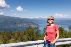 Young woman tourist in Norway Royalty Free Stock Photography