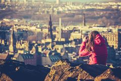 Young Woman Tourist In Scotland Stock Image