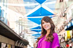 Young woman tourist in Plaza del Sol Royalty Free Stock Photography