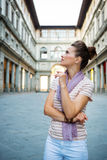 Young woman tourist sightseeing in Florence, Italy Royalty Free Stock Image