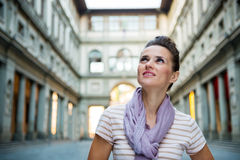 Young woman tourist sightseeing in Florence, Italy Stock Images