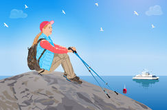 Young woman tourist. Sitting on rock and looking on sea. EPS 10 format stock illustration