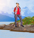 Young woman tourist. Standing on lake coast. EPS 10 format Stock Images