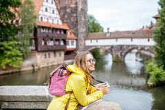 Woman traveling in Nurnberg city, Germany Stock Image