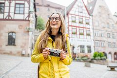 Woman traveling in Nurnberg city, Germany Royalty Free Stock Photo