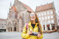 Woman traveling in Nurnberg city, Germany Royalty Free Stock Photography