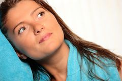 Young woman with a towel Royalty Free Stock Photography