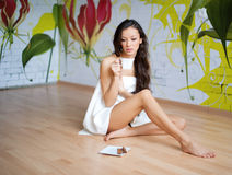 Young woman in towel Royalty Free Stock Photos