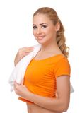 Young woman with towel Royalty Free Stock Image