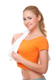 Young woman with towel Royalty Free Stock Photos