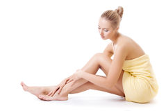 Young woman in towel Royalty Free Stock Images